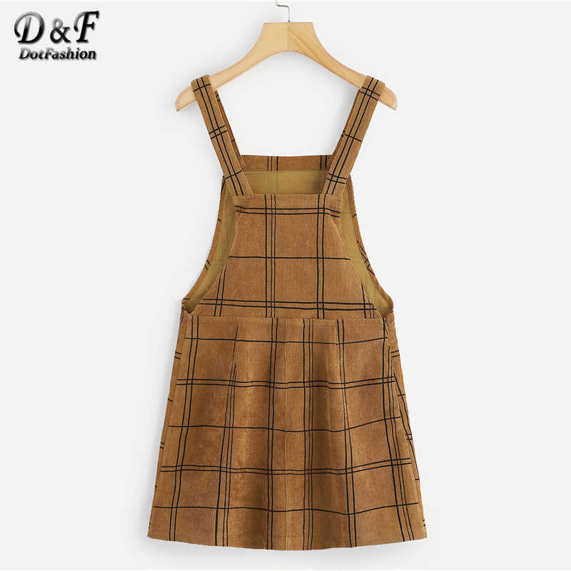 cd9aeae2ba13d Dotfashion Brown Bib Pocket Front Grid Corduroy Overall Dress Women Clothes  2019 New Arrival Autumn Casual Sleeveless Dress
