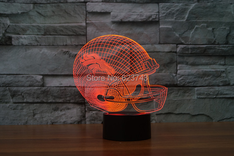 Denver Broncos American Football cap helmet NFL 3D LED Color Changing Decor night light by Touch induction control and batteries