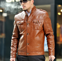 2016 spring brown single-breasted casual PU faux leather jacket mens leather jackets and coats male short coat large size 3XL
