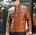 2017 marrom primavera single-breasted casual PU jaqueta de couro falso dos homens jaquetas de couro e casacos casaco curto masculino grande tamanho 3XL