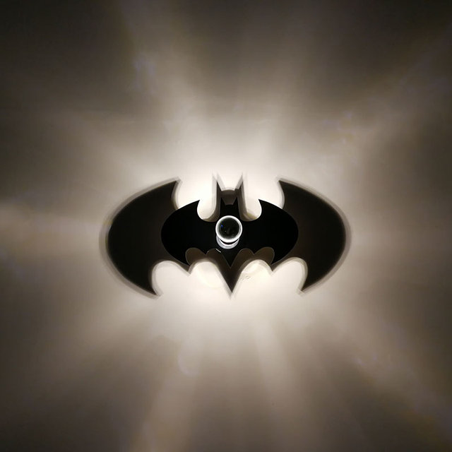 New Animal Bat Wall Lamp Cartoon Batman Logo Warm Night Light E27 Bulb Kid Bedroom Art Decor Projection Shadow Acrylic Plate