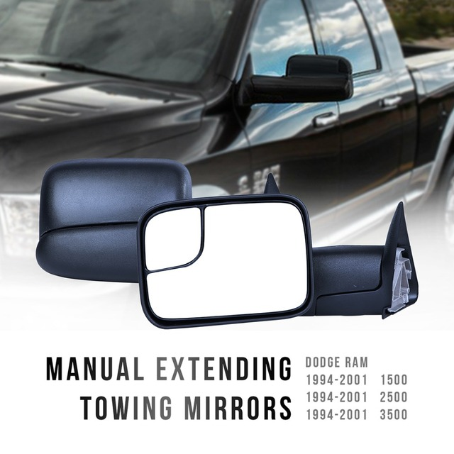 1 Pair Left Right Trailer Pickup Truck Towing Mirrors Folding Tow Mirrors For Dodge Ram