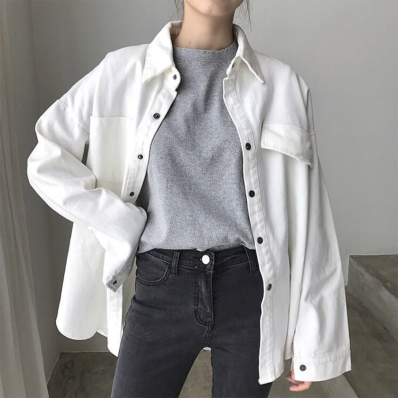 2019 New Women OverSize Denim Jackets Spring Summer Solid BF Style White Shirts With Pockets Female Plus Size Loose Thin   Coats