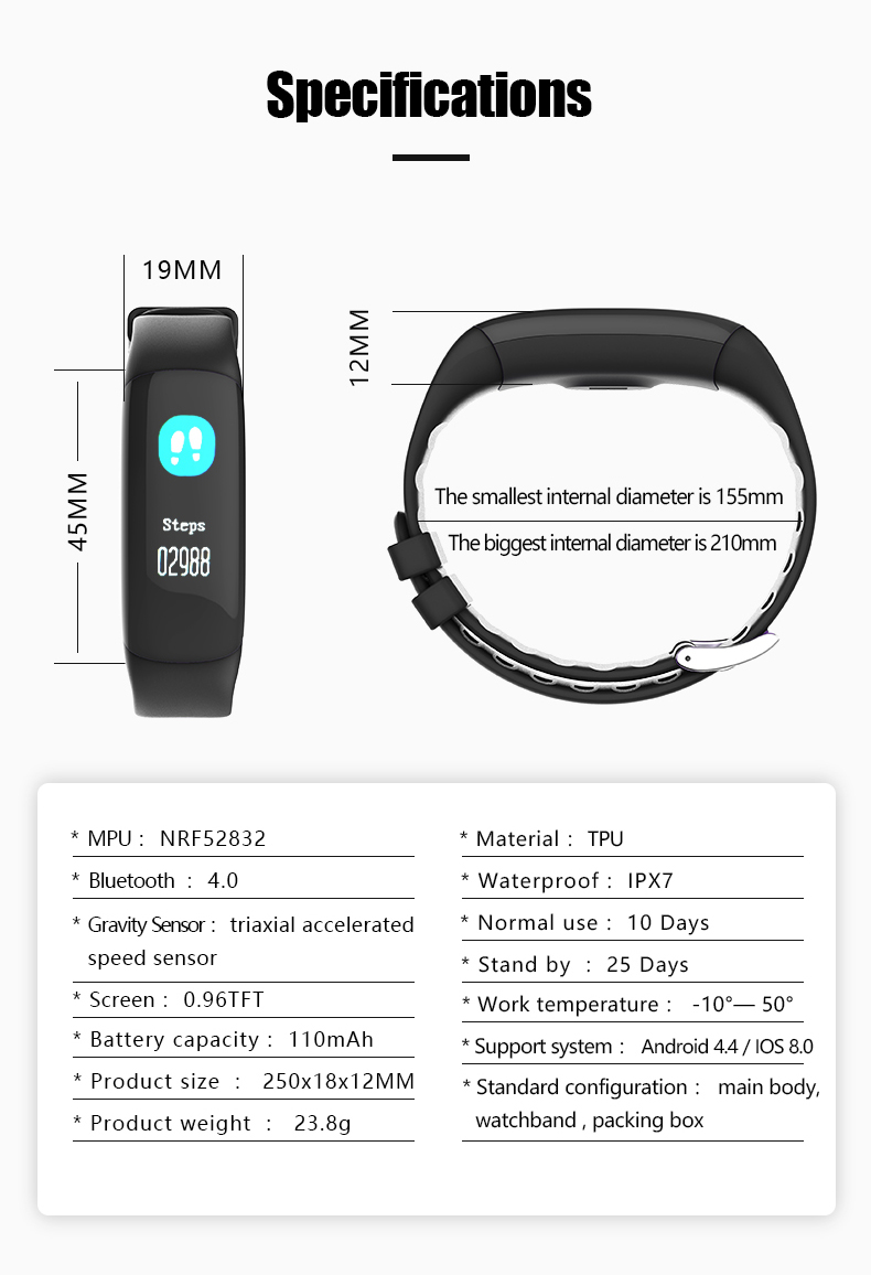 P7 Smart Wristband Bluetooth 4.0 Band Heart Rate Monitor Sport IP67 Waterproof OLED Smartband Bracelet For Android IOS Phone (19)