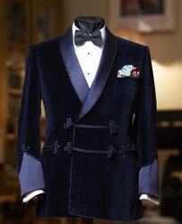ANNIEBRITNEY 2019 Navy Blau Männer Anzug Slim Fit Smoking Nach Blazer Bräutigam Prom Hochzeit Anzüge (Samt Jacke + Schwarz baumwolle Hosen)