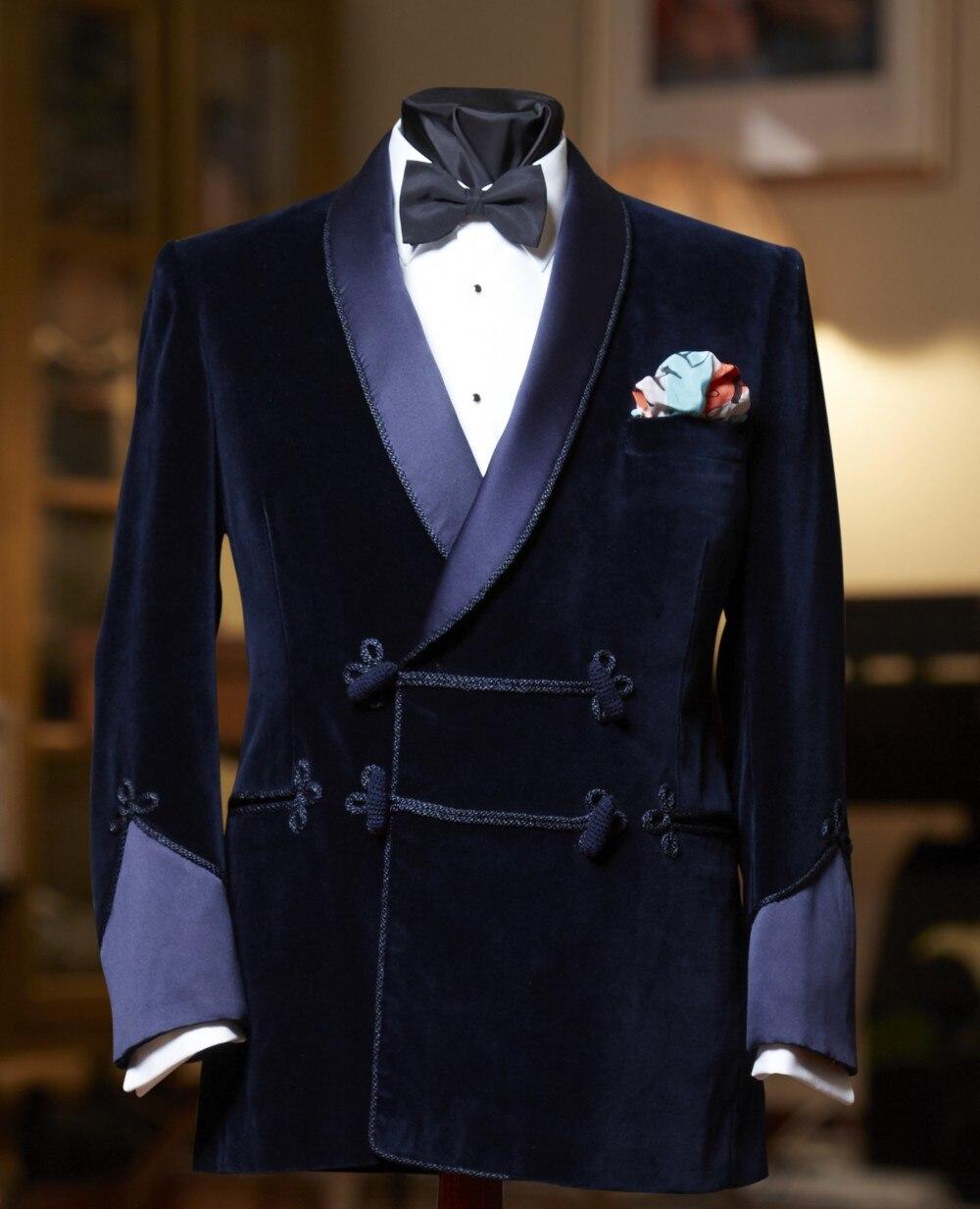 ANNIEBRITNEY 2019 темно синий мужской костюм, приталенный смокинг на заказ, блейзер, костюмы на выпускной, свадьбу (бархатный пиджак + черные хлопковые брюки)