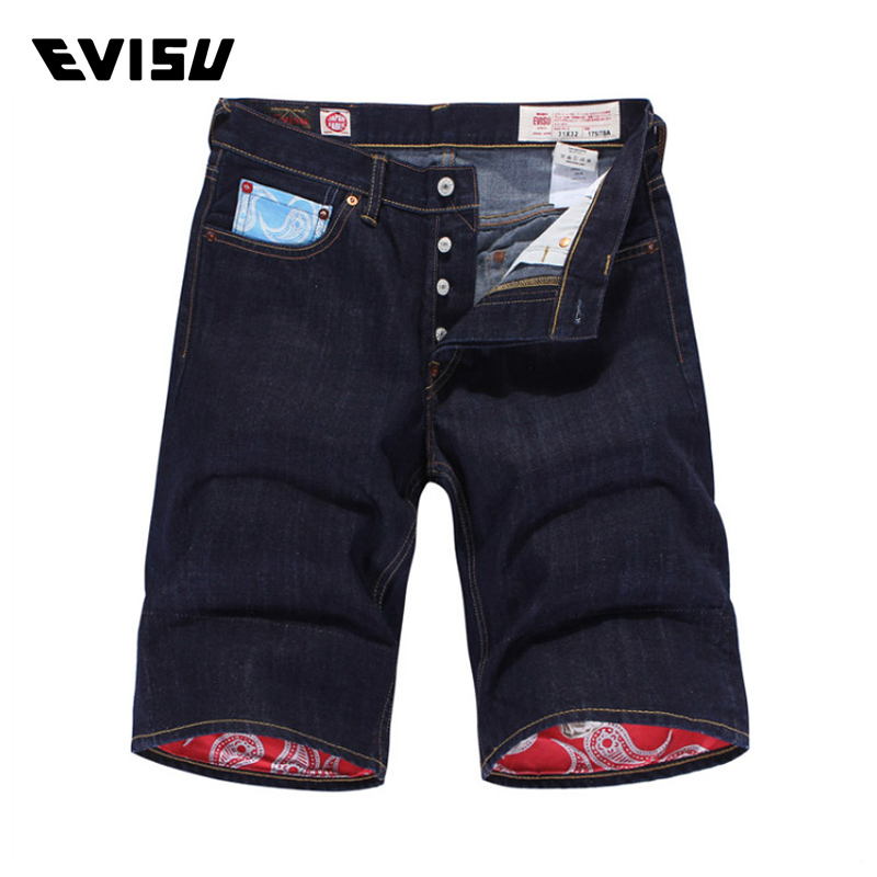 Evisu Men Jeans Male Brand Denim Short Pants Mens Biker Jogger Jeans Casual Fashion Solid Skateboard Pants Cowboys 6178