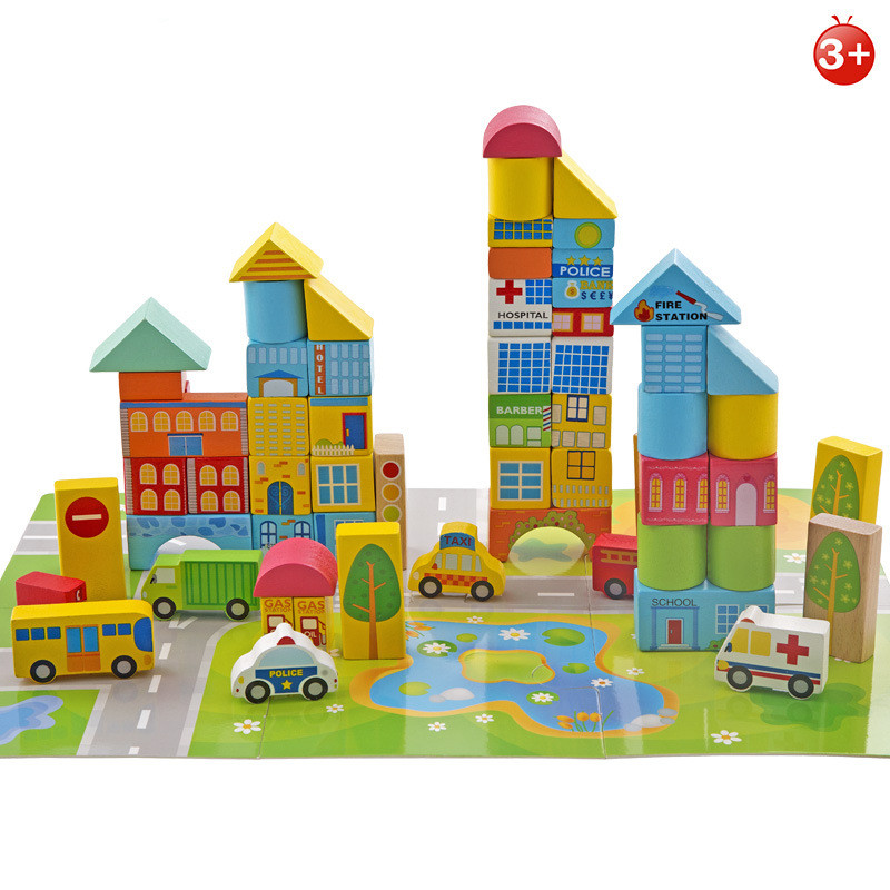 62pcs/set Safety Color Cartoon Images City Traffic Scene Wooden Building Blocks Educational Toys for Children Christmas Gifts 62pcs colored wooden building blocks city traffic scene blocks kids educational toys child diy toys jm19