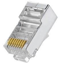 Cat6 RJ45 מחבר 8P8C מודולרי רשת Ethernet כבל ראש תקע 20pcs 50pcs 100pcs מתכת מסוכך RJ 45 חתול 6 מלחץ מחבר