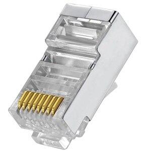 Image 1 - Cat6 RJ45 Connector 8P8C Modulaire Netwerk Ethernet Kabel Hoofd Plug 20 Pcs 50 Stuks 100 Stuks Metalen Afgeschermde Rj 45 kat 6 Crimp Connector