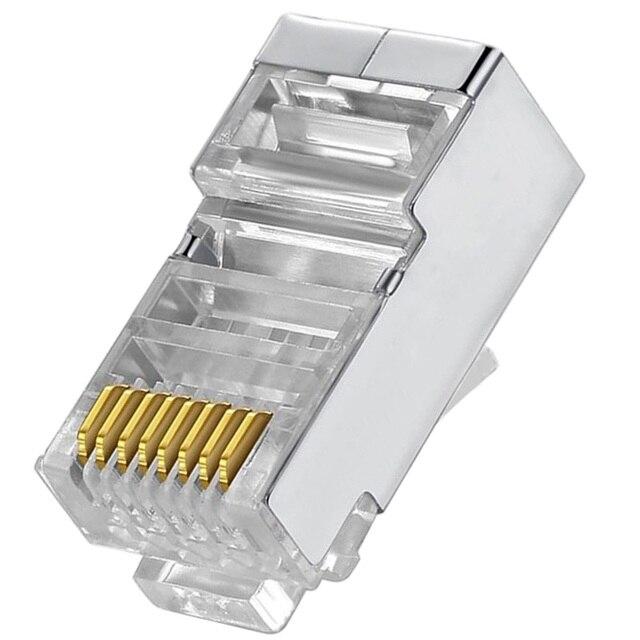 Cat6 RJ45 Connector 8P8C Modulaire Netwerk Ethernet Kabel Hoofd Plug 20 Pcs 50 Stuks 100 Stuks Metalen Afgeschermde Rj 45 kat 6 Crimp Connector