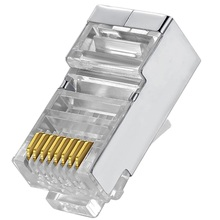 Cat6 rj45 conector 8p8c rede modular cabo ethernet cabeça plug 20 pces 50 pces 100 pces metal protegido rj 45 cat 6 conector de friso