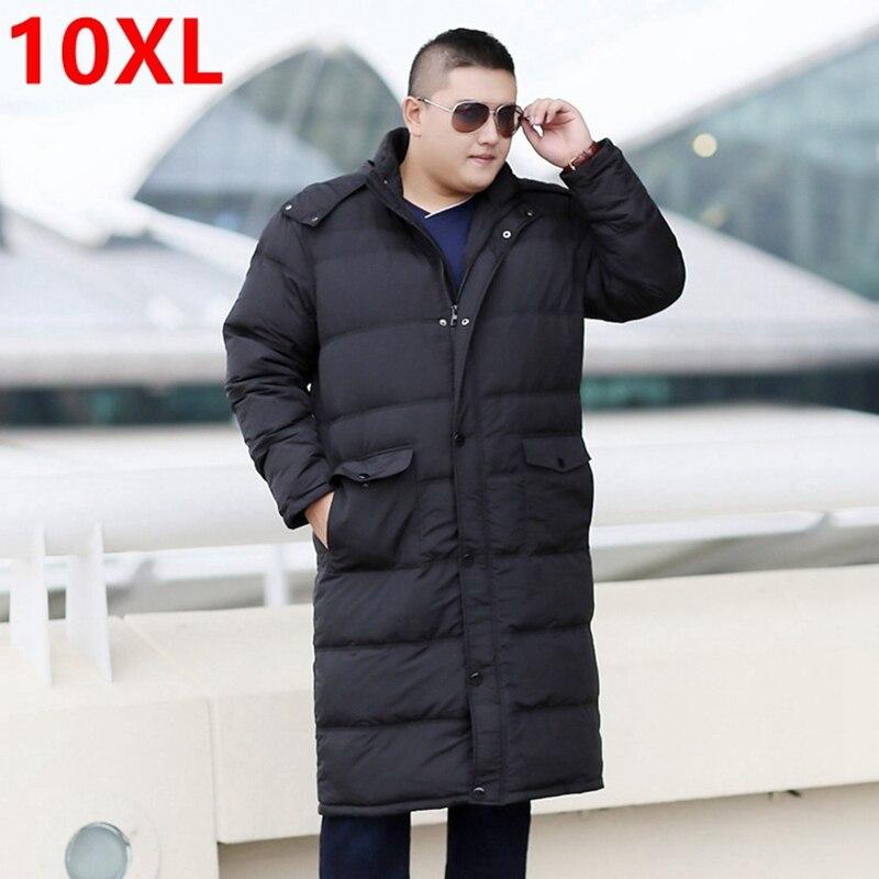 Hiver long down veste grand grande taille graisse XL manteau Overknee 10XL 9XL plus la taille long paragraphe mâle hiver vêtements 8XL 7XL 6XL