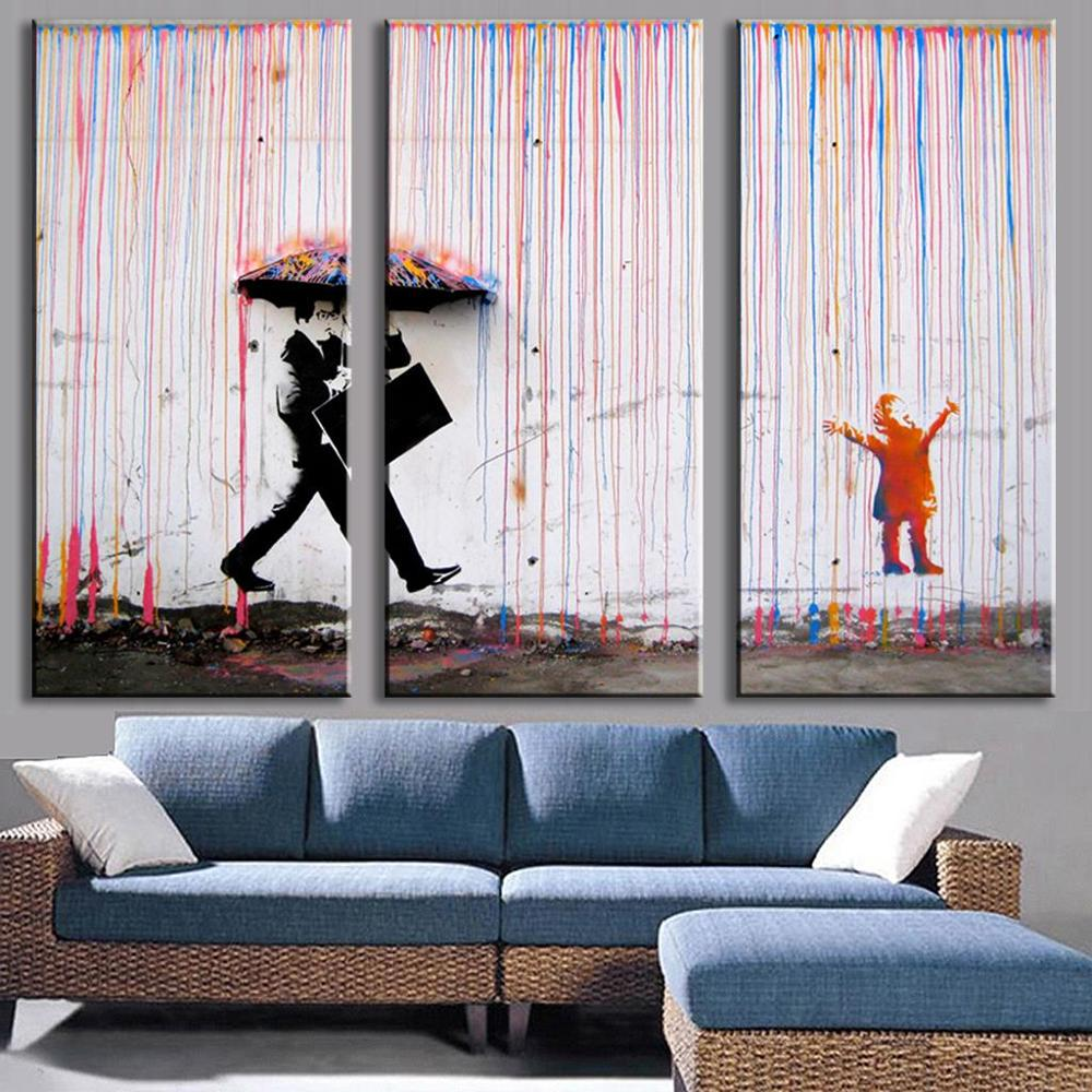 Online coloring room - 3p Banksy Wall Art Canvas Painting Colorful Rain Wall Pictures For Living Room Oil Painting On