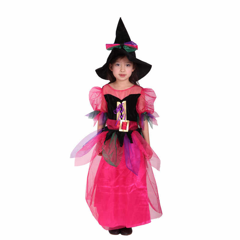 New Halloween Cosplay menunjukkan pakaian Gadis Terbang Penyihir anak Rainbow Cukup Penyihir Kostum Gratis Pengiriman
