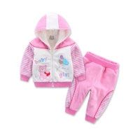 Coral Fleece Chiddler Set Wool Double Layer Set With A Hood Zipper Long Sleeve Male Female