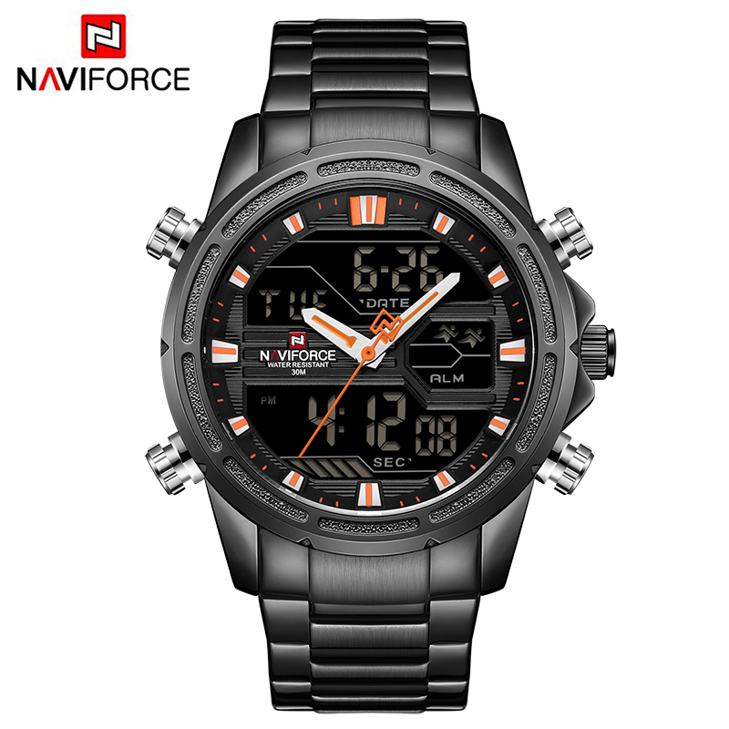 NAVIFORCE New Luxury Men Sports Watches Quartz Watch Man Analog LED Chrono Digital Watch Military Waterproof Wristwatches 9138