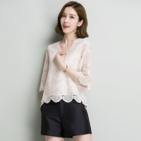 Summer Women's Polyester Lace T Shirts V Neck Petal Sleeve Short Sleeve Tee Shirt for Women Sweet Hollow Out Solid T Shirt