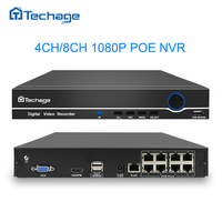 Techage Audio Record 8CH 4CH 1080P 48V POE NVR Recorder XMEYE 802.3af P2P ONVIF Network Video Recorder 2MP for POE IP Camera