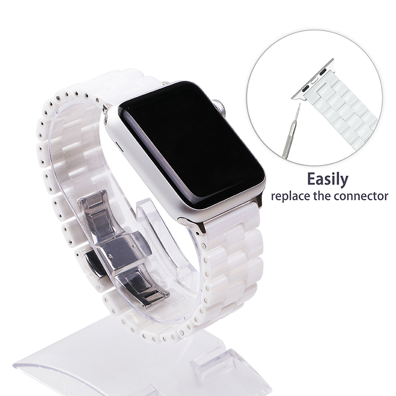 Keramische horlogeband 44 mm voor Apple Watch 38 mm 42 mm Smart horlogeband Link-band armband Keramische horlogeband voor iWatch 40 mm