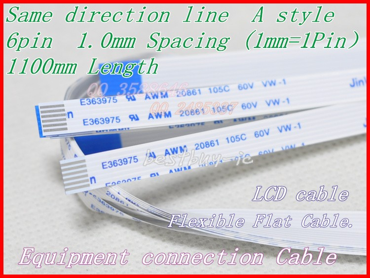 1.0mm Spacing +1100mm Length +6Pin A / same direction line Soft wire FFC Flexible Flat Cable. 6P*1.0A*1100MM