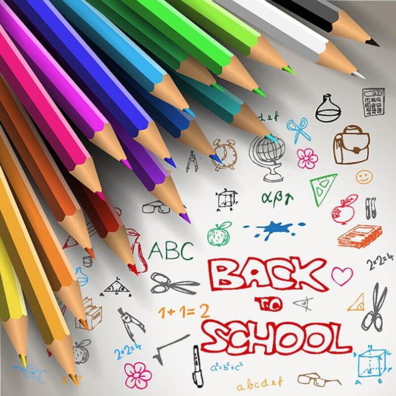 Allenjoy fotograafiline taust Värvilised pliiatsid joonlaud kooli - Kaamera ja foto - Foto 3
