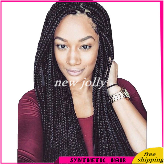 Hot Selling Synthetic Braiding Hair Wig Box Braided Lace Front Wigs