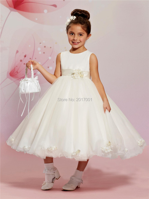 aff17aa7b77ca Vintage Organza Flower Girl Dresses for Weddings Ball Gown 2016 Cheap White  Scoop Beaded Kids Beauty