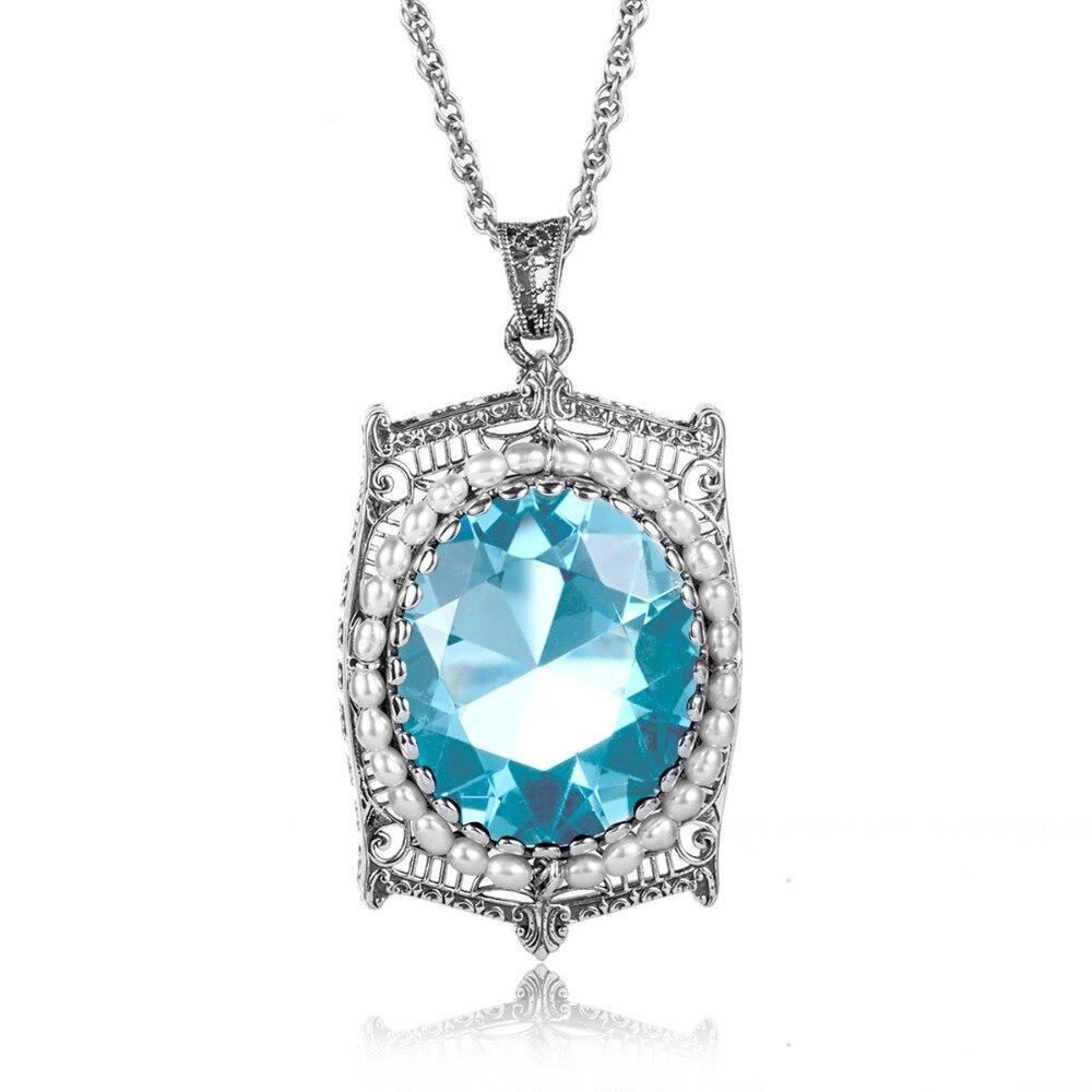 Szjinao Big Aquamarine Pendant Necklace Restoring Ancient Fashion 925 Sterling Silver Pearl Pendant Wholesale Hot Sale
