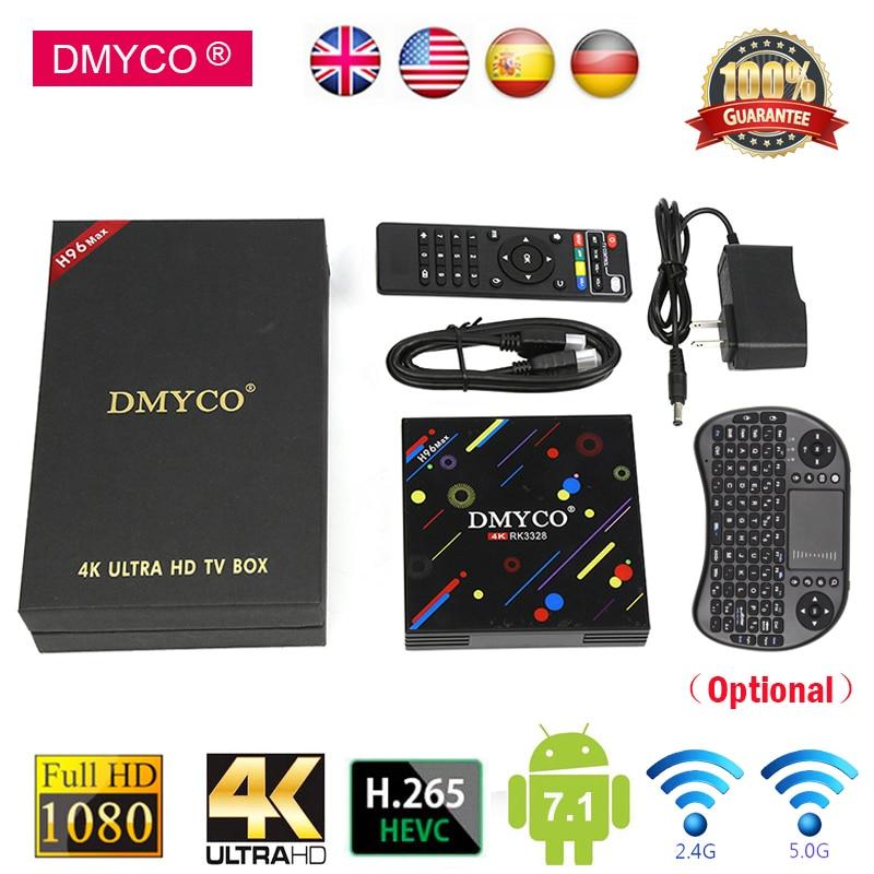 DMYCO Android 7.1 TV Box 4G RAM 32G ROM H96 Max Set Top Box RK3328 2.4G/5G Wifi Bluetooth 4.0 4K H.265 USB3.0 Smart Media Player цена