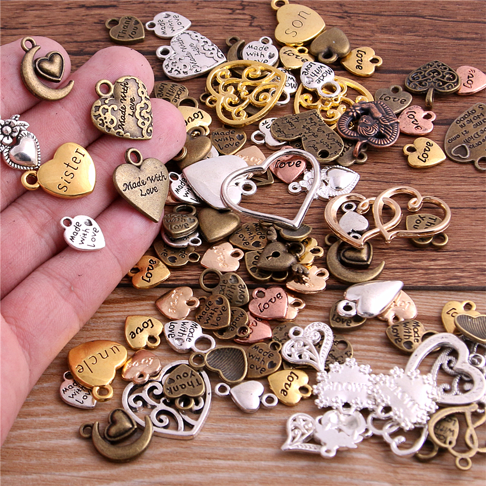PULCHRITUDE 20pcs/lot Vintage Metal 6 color Mixed Hearts Charms Retro love Pendant for Jewelry Making Diy Handmade Jewelry(China)