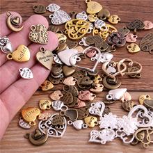 PULCHRITUDE 20pcs/lot Vintage Metal 6 color Mixed Hearts Charms Retro love Pendant for Jewelry Making Diy Handmade T3019