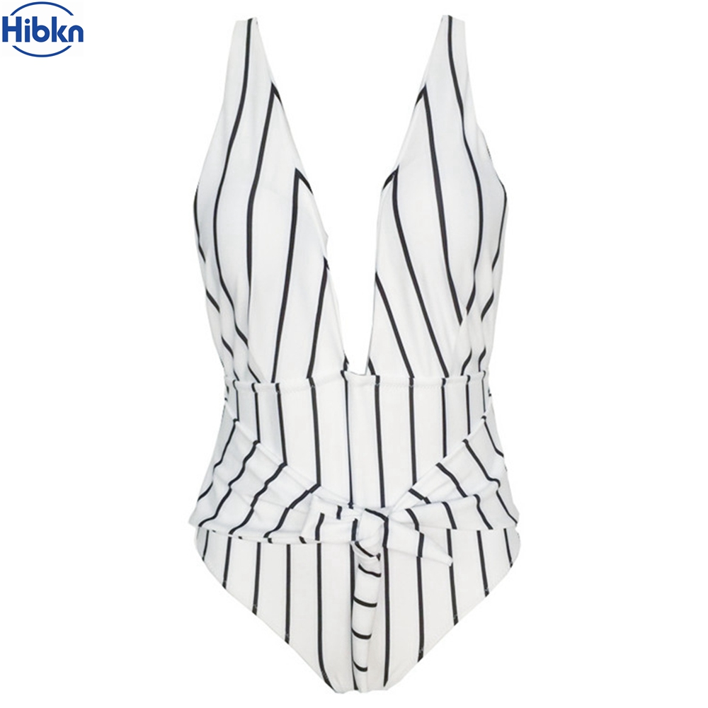 Striped one piece swimsuit XXL v neck swimwear strappy halter monokini stripes swimming suit women high cut swimwear female