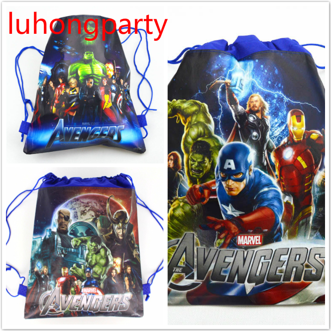 20pcs 37*24cm Avenger hero non woven fabrics bags drawstring backpack,schoolbag gift bags-in Gift Bags & Wrapping Supplies from Home & Garden