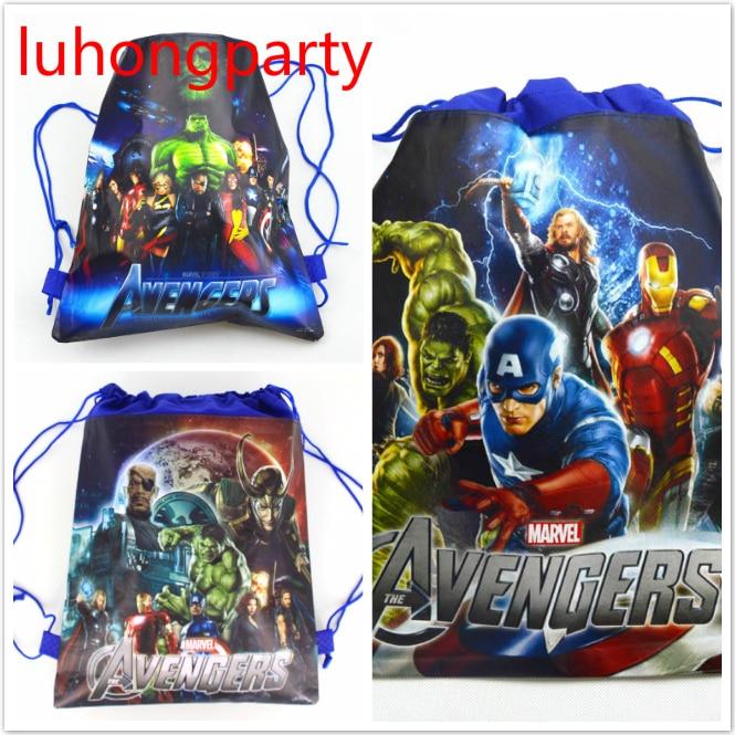 20pcs 37*24cm Avenger Hero Non-woven Fabrics Bags Drawstring Backpack,schoolbag Gift Bags