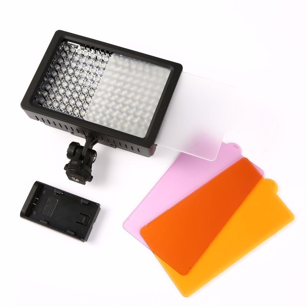 Prix pour 160 LED Vidéo Lumière Lampe 1280LM 5600 K/3200 K Peut Être Obscurci pour Canon Nikon DSLR Camera Éclairage Photographique