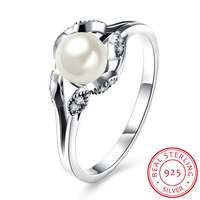 100 Genuine 925 Sterling Silver Ring For Women AAA Cubic Zirconia Round Pearl Engagement Wedding Rings