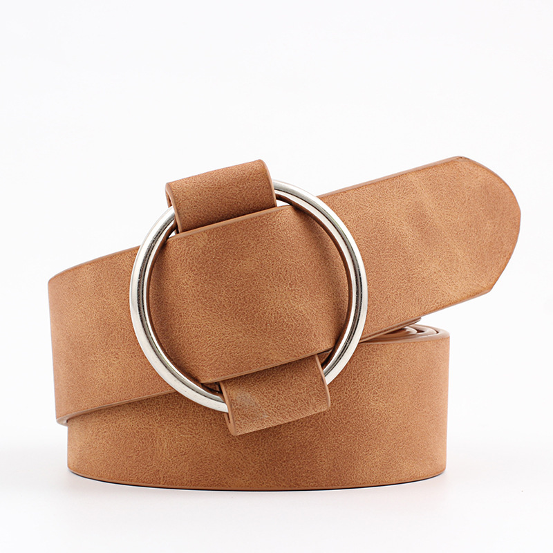 Fashion Women Vintage Metal Round Buckle Waist Belt Waistband Needle-free Circle Casual Ladies Belt