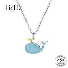LicLiz 2019 New 925 Sterling Silver Cute Blue Whale Pendant Necklaces for Women White Gold Jewelry Link Chain LN0449