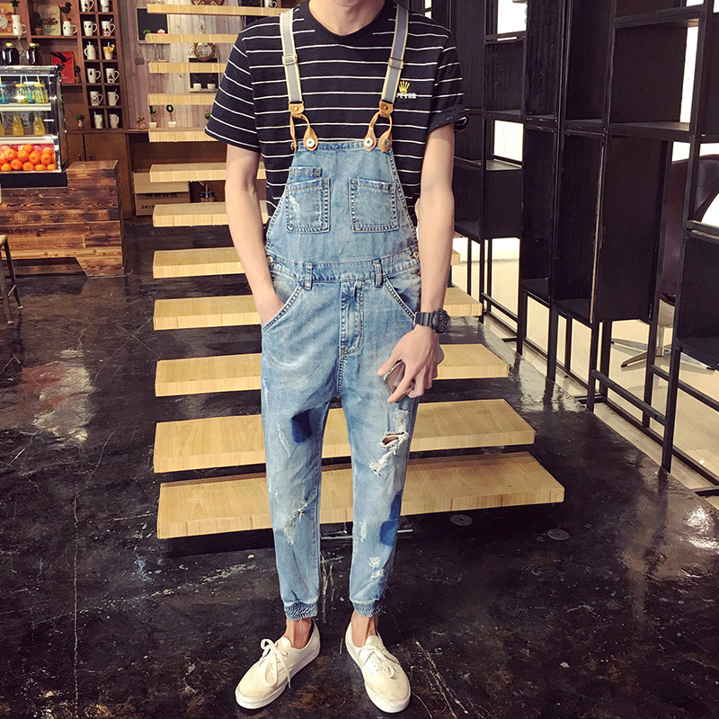 Men Patched Denim Overalls New 2017 Ripped Male Bib Jeans Garment Washed Ankle Length Overall Jeans Free Shipping men distressed broken jeans light blue denim pants streetwear new 2017 mens ripped jeans patched design garment washed jeans