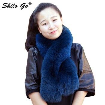 Streetwear Real Fox Fur Scarf Women Winter Elegant Warm Blur Fur Scarf Female scarf Pink Dark Green