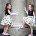 2016 de Primavera Y Verano para niños niños ropa de verano sin mangas impresa punto con arco Princesa de Las Muchachas se Visten Los Niños Del Vestido