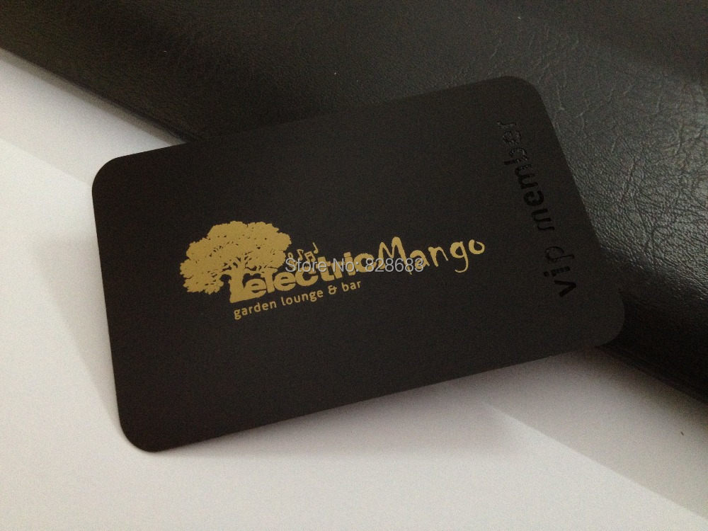 100pcs Black Metal Business Card With CUTOUT And Golden Screen Print ...