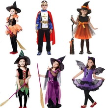Halloween Costumes Girls Witch Party Dress Children Kids Boys King Prince  Cosplay Costume For Girls Party Witch Dress With Hat цена 2017