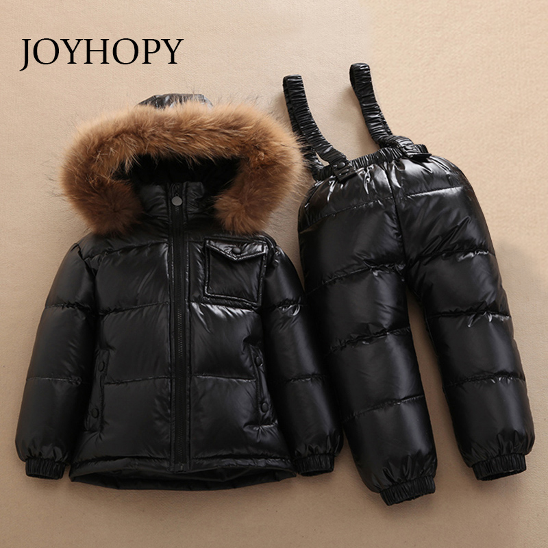 -30 degree Russia winter children's clothing girl clothes sets for new year Baby boys parka jackets down coats Kids snow wear 2016 winter boys ski suit set children s snowsuit for baby girl snow overalls ntural fur down jackets trousers clothing sets