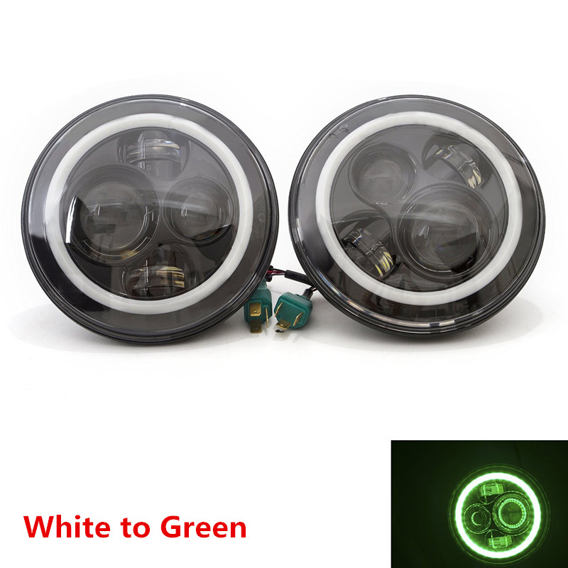 DOT Approved 7inch 40W Round Black LED Projector Headlights with Green Halo Ring Angel eyes DRL for Wrangler JK TJ Land Rover