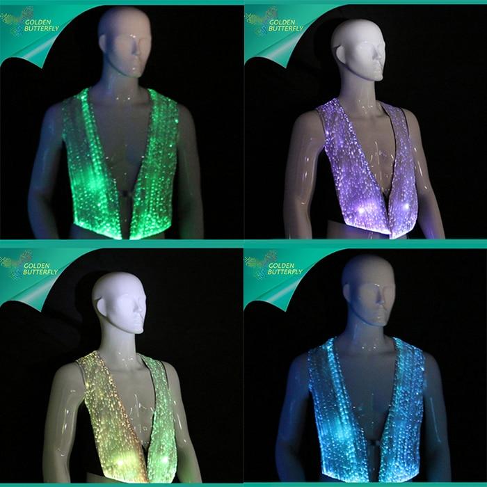 Glowing Vest 2017 Fashion Jacket Luminous T-shirt LED Sleeveless Clothing Fiber Clothe Glowing Bar Clothes For Men Show Clothes