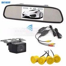 DIYKIT Wi-fi four.three Inch Automobile Mirror Monitor IR Automobile Rear View Digital camera Wi-fi Video Parking Radar four Sensors Parking System