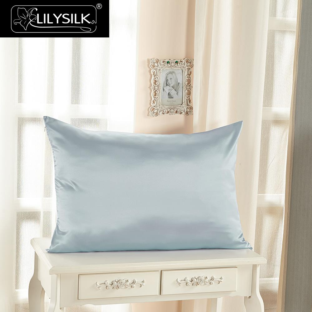 LilySilk Pillowcase 100 Pure Silk Natural for Hair 22 Momme Terse Zipper Mulberry 40x40 50x90cm Home