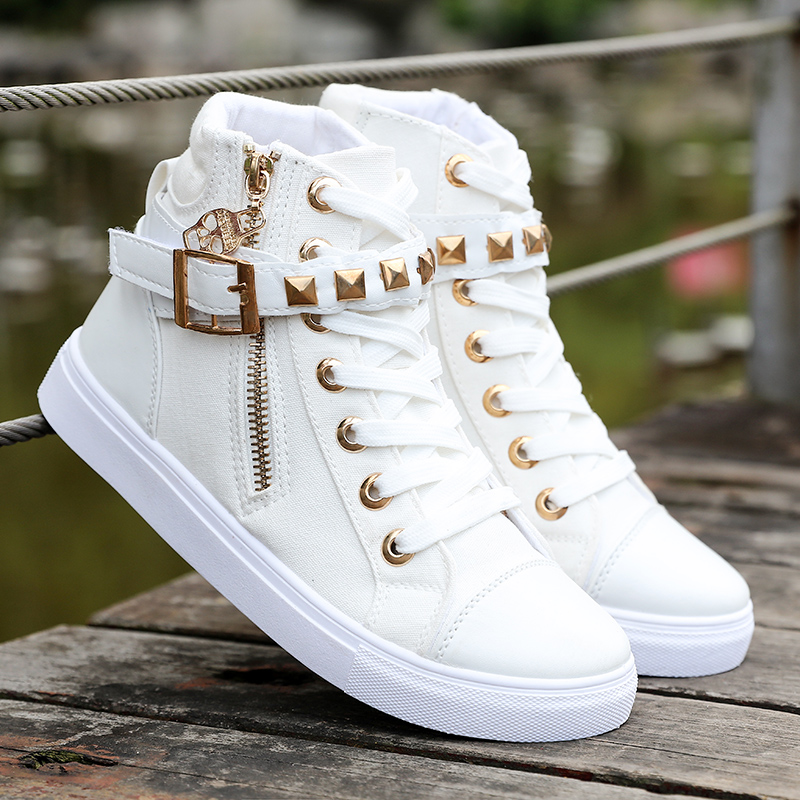 US $16.11 48% OFF Sneakers women shoes 2018 fashion zipper wedge women canvas shoes High help solid color white ladies shoes tenis feminino in Women's